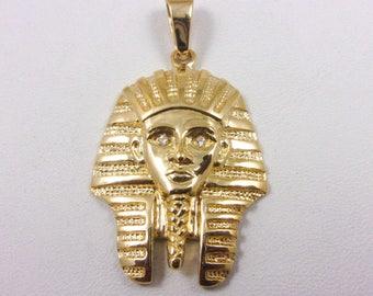 NEW! Solid 10K Yellow Gold Diamond King Tut Pharaoh Pendant Charm, 7.4 grams