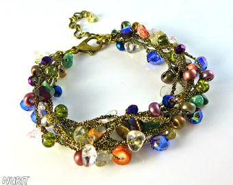 Colorful bracelet, multi strand bracelet, rainbow, crystal bracelet, boho chic, crochet jewellery, bead bracelet