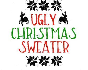 Ugly Christmas Sweater svg, clipart, Ugly Christmas Sweater cricut, silhouette, pdf, jpg, ai