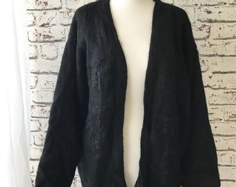 Embroidered oversized mohair cardigan