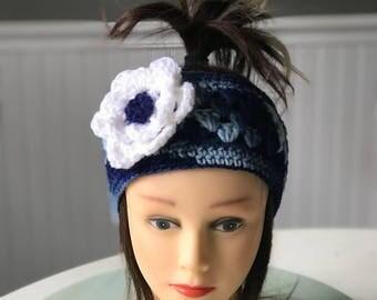 Crocheted Ear warmer with flower
