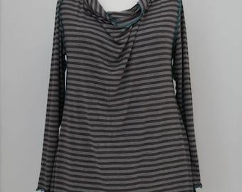 Tunic Grey-brown striped * Plus size *
