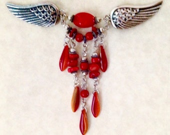 Sweater Clip, Sweater Pin, Shawl Clip, Shawl Pin, Wings, Red, Accessories,