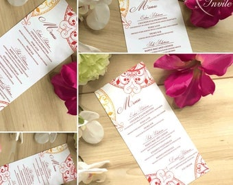 Red to yellow ombre mandala design wedding menu cards Indian henna heart design moroccan inspired