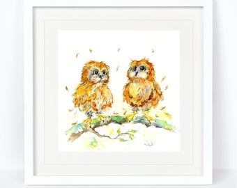 You're a Hoot - Owl Print. Printed from an Original Sheila Gill Watercolour. Fine Art, Giclee Print, Hand Painted, Home Decor