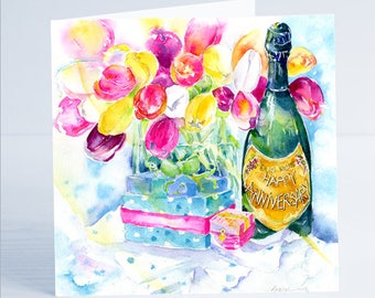 Happy Annversary Tulip and Champagne Greeting Card