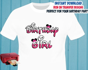 Minnie Mouse , Birthday Girl , Iron On Transfer , Minnie Girl Birthday Shirt Designs , Girl DIY Shirt , Digital Files , Instant Download