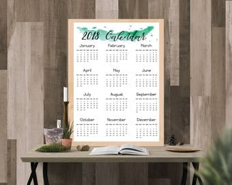 2018 Calendar Digital Print - for Office Home (1 page watercolor)