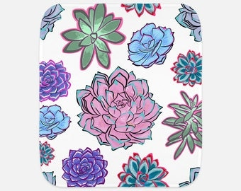 """Gorgeous Succulent Illustrations - 12""""x16"""" Baby Burp Cloth - Baby Gift - Newborn Gift"""