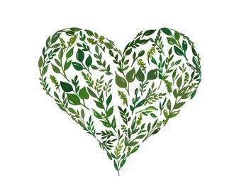 Green Leaves Heart Print, Green Leaf Watercolor Art Print, Heart Illustration for Nursery, Gouache Painting, Foliage Wall Art, Botanical Art