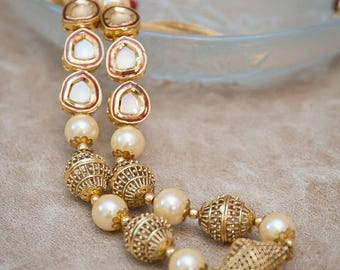 Graceful kundan, gold beads flawless pearls necklace lndian necklace pearl necklace