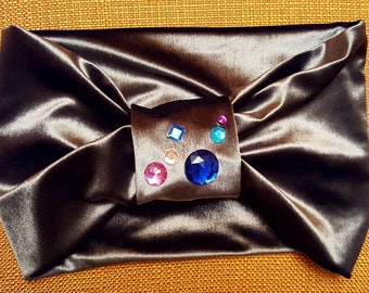 Velour bow style headbands with crystals