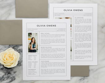 Olivia Media Kit Template (Resume Template, Ad Rate Sheet Template, Press Kit, Pitch Kit) in Adobe InDesign, Apple Pages, and Microsoft Word