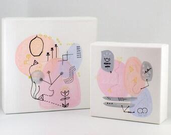 Set of 2 abstract painting, original wall art, original artwork, abstract art set, abstract wall decor, wall art set, contemporary art