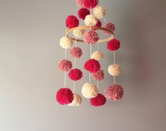 Baby mobile shades of Pinks, cream, Fuchsia, pompom wool mobile Pompom, nursery, minimalist decor baby nursery mobile