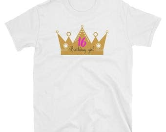 Women's 16th Birthday Girl Princess Pink Shirt Gift Tee
