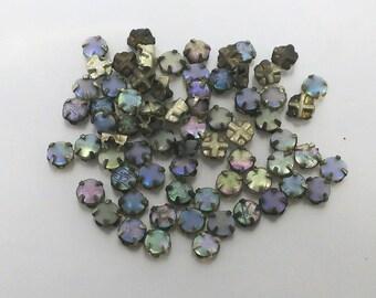 4 mm Vintage Opalescent Rose Montees - Lot 17 - 12 pieces
