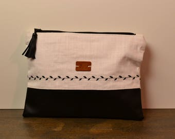 Clutch-Black/white, Boho with embroidery