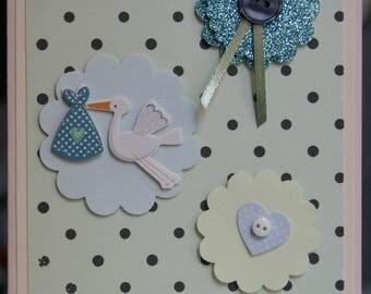 Baby boy stork Handmade Card