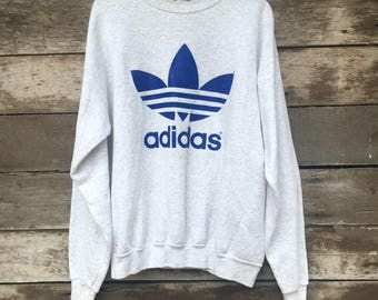 Rare! Vintage Adidas Trefoil Sweatshirt Big Logo Jumper Pullover 90s