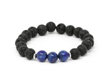Lapis Lazuli + Lava Beads with Truth Charm Aromatherapy Bracelets