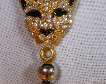Vintage Rhinestone Cheetah Head Metallic Beads adjustable Bracelet