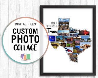 State Photo Collage, State Collage, Travels Photo Collage, Personalized Travel Photo, Texas Photo Collage, Custom Honeymoon Map, Collage Art