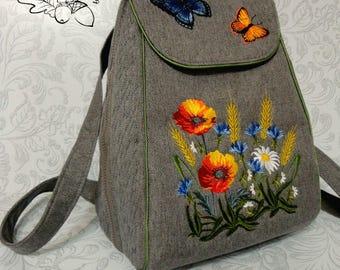 Textile Backpack Embroidered Shoulder Bags Multifunctional Travel Backpack Bag for Girls School Backpack Women's Backpacks Flowers