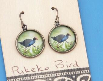New Zealand Pukeko birds, vintage art print, Earrings, glass dome art, niobium hypo-allergenic