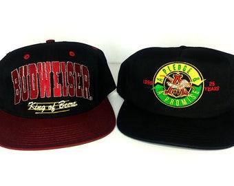 Vintage 90s Budweiser Beer Anheuser Busch King of Beers Snapback Hat Lot Pack of 2