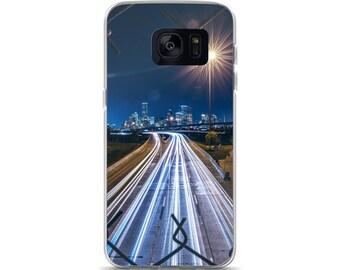 City Never Sleeps Samsung Case Highway Cars City Skyline Samsung Case