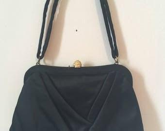 Vintage 1950s Mel-Ton Classic Satin Rhinestone-Encrusted Clasp Evening Bag