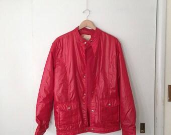 SALE Vintage 'Skyr' Cherry Firetruck Red Bomber Ski Jacket Coat Men's Large Scandia Trading Co. Winchester Mass USA Made in Japan