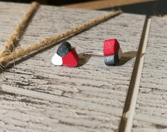 Polymer clay silver earrings