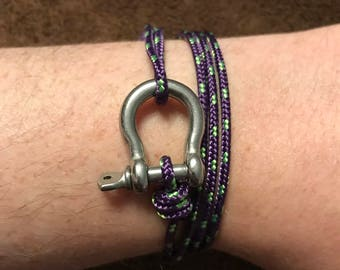 Paracord steel shackle bracelet