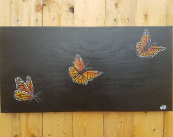 Monarch Butterfly Flying Acrylic Painting