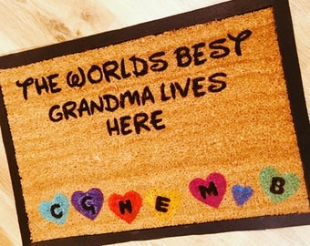 Disney Inspired  Door Mat Personalised Worlds Best Grandma Mum