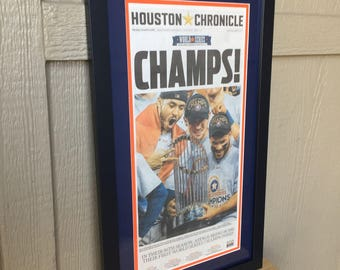 Houston Astros - 2017 World Series Champions - Houston Chronicle Front Page - Framed, Double Matted (Official Team Colors)