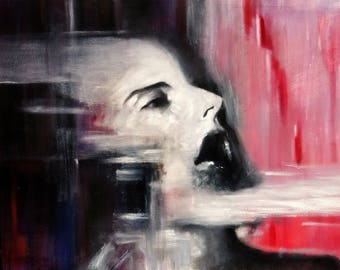 Oil on canvas painting. Large painting in black and white with pink. Abstract and figurative portait. Horizontal painting. Original painting
