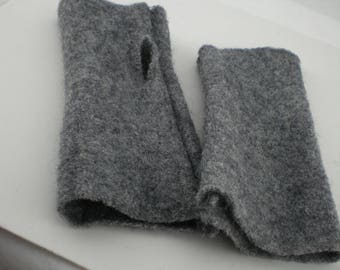 Warmers Grey Walkwolle felt elastic W2618