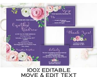 Purple wedding invitation template Peony floral wedding invite set Rustic wedding invitation printable Romantic Ultra violet peony - DIGITAL