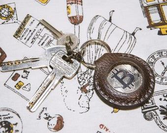 Bitcoin leather key keeper keychain