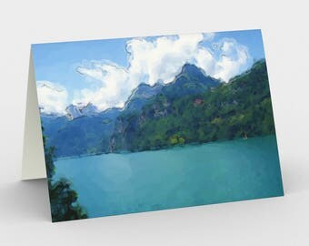 "Notecards: Serene landscape ""Vibrant Lake"" by Malinee Ganahl.  Calm, Blue Lake surrounded by Hills.  Digital watercolor.  Set of 3."