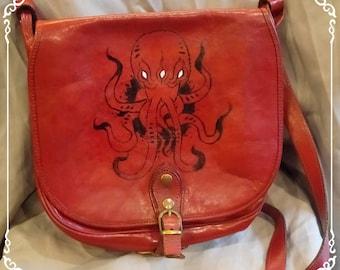 Bag vintage custom hand painted tattoo / / Hand-crafted vintage leather handbag
