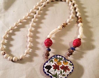 """Vintage handmade 15"""" cloisonne locket necklace"""