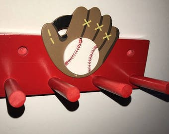 Baseball Bat Rack Display Holder Red Wall Mount with Glove Decal 2 Bats Softball