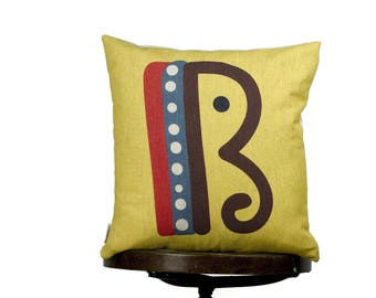 Funny bright color Pillow cover with letter B, Yellow, Monogram cushion, Multi-Coloured, kids room pillows, nursery cushions