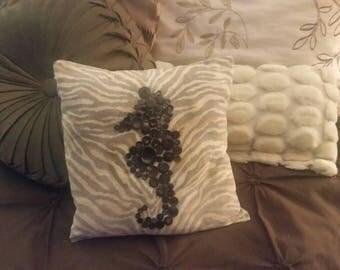 Seahorse nautical accent pillow.