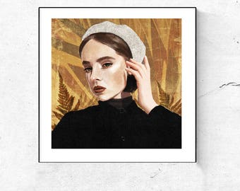"Elizabeth"" Digital print, Golden Wall Art,  Instant Download Printable Art, Wall Art Print, Tropical Print, Modern Art, Illistration"