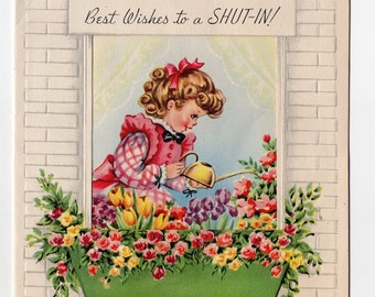 Vintage Shut In Get Well Card | Funny Flowers Girl Gardening Antique Pastel Feel Better Greeting Card | Paper Ephemera